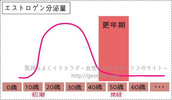 女性の性欲と関わりを持つエストロゲン減少グラフ