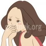 精液をごっくんしてまずそうにしている女性のイラスト