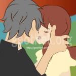 男女がキスしているイラスト