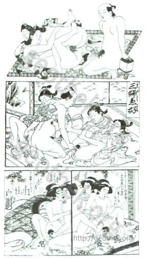 乱行セックスしている男女の春画