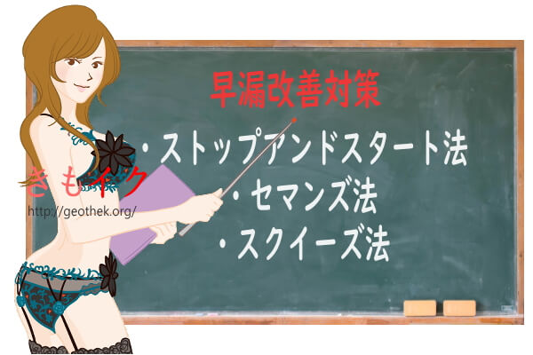 早漏対策のストップアンドスタート法を教えている女性