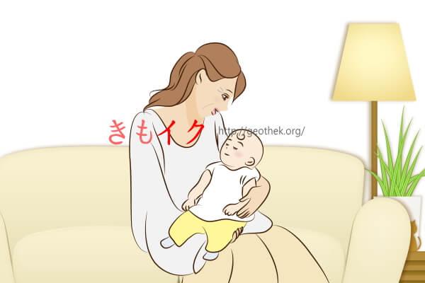 赤ちゃんに乳首を吸わせている乳首が敏感な中年女性