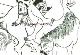 セックスの48手【2】恋のむつごと四十八手:其の43.馬の上でセックスする体位の春画 馬上懸(ばじやうがけ)