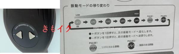 繊細な振動で最高のクリイキができるローター『イロハプラスよるくじら』の取り扱い説明書の振動モード画像