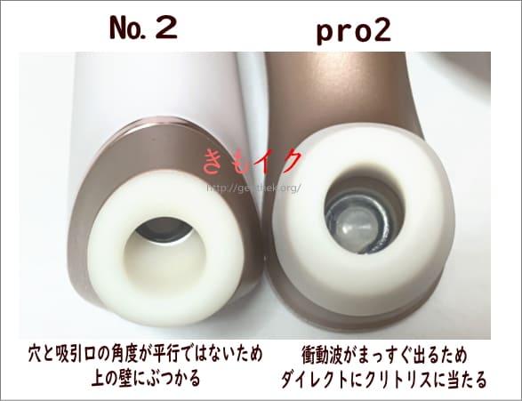 サティスファイヤNO2の威力が弱くなる吸引口の角度とpro2のまっすぐに出る吸引口